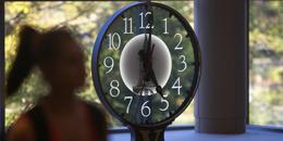 Davis Center Clock overlooking the atrium