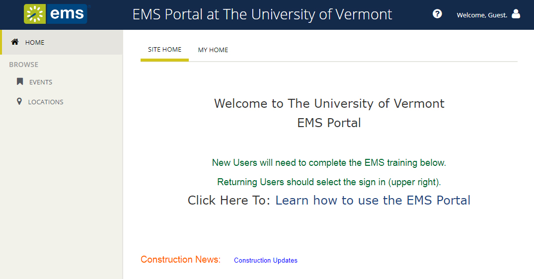 screen shot of EMS portal