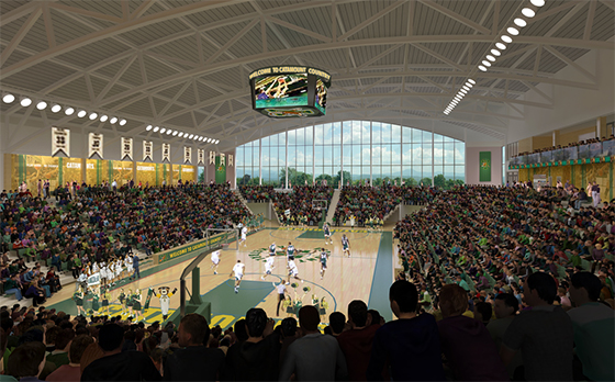 A rendering of the inside of UVM's new Events Center. A crowd cheers overlooking a basketball court.