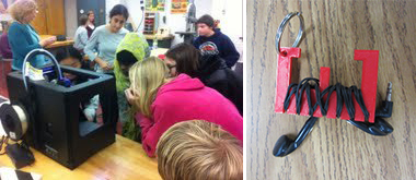 Students at Edmunds Middle School examine their new 3D printer.