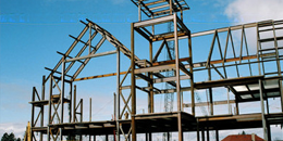 the steel frame of the davis center as it was being constructed in 2006