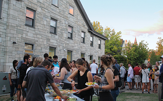 Students gather outside of new home of Hillel at University of Vermont