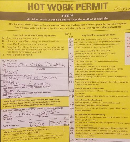Sample of Hot Work Permit