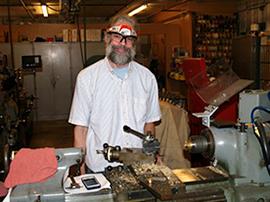 Jake Kittell in the machining shop