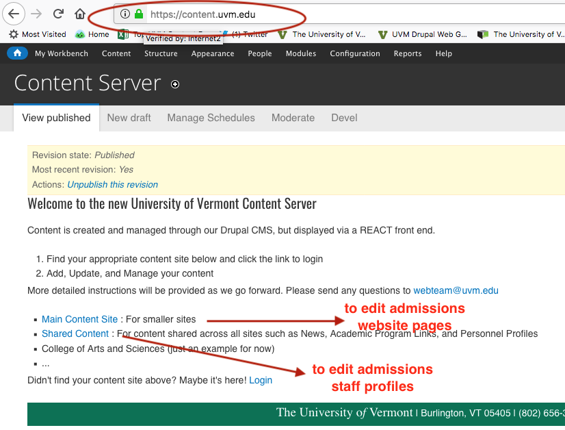 """Screenshot showing """"Main Content site"""" link to edit website pages; """"Shared Content"""" link to edit profiles."""