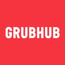 the grubhub logo in a red square