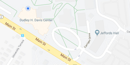 a screenshot from google maps showing the streets and roads around the davis center