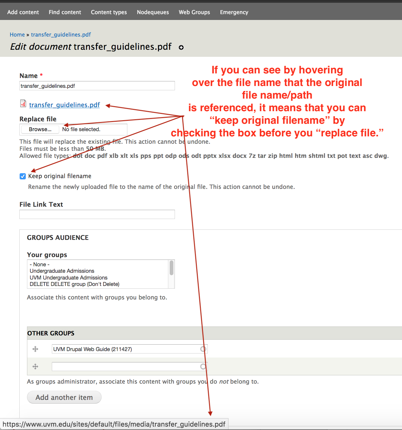 """Screenshot of Drupal interface -- if you can see by hovering over the file name that the original file name is referenced, it means that you can """"keep original filename"""" checked when you replace file."""