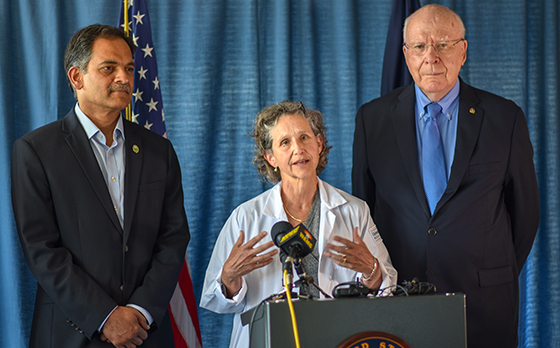 UVM president Garimella, researcher Stacey Sigmon and Senator Leahy at opioid press conference