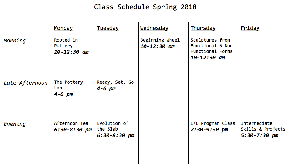 pottery class schedule updated 2.2.2018