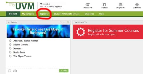 myuvm, registrar tab circled to indicate clicking