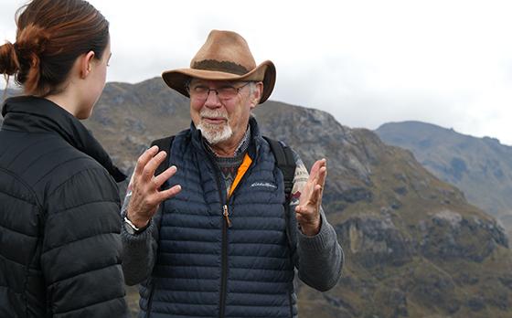 Stu White and student in Ecuadorean mountains