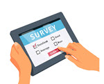 Online-survey-on-a-tablet Designed by Freepik
