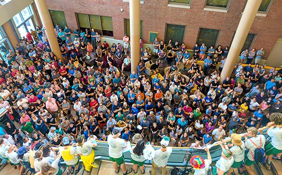 Crowd in UVM's Davis Center