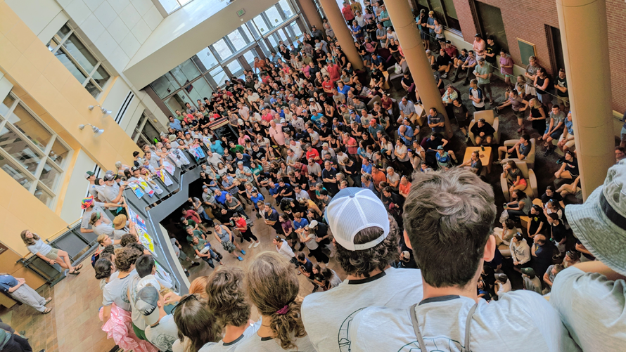 students at the trek welcome in the davis center atrium