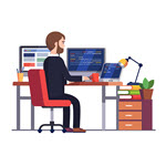 Telecommuting background vector created by Iconicbestiary - Freepik.com