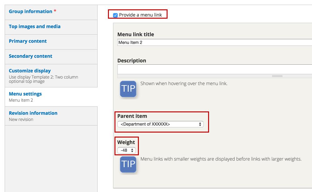 how do i build and edit my menu uvm drupal web guide the