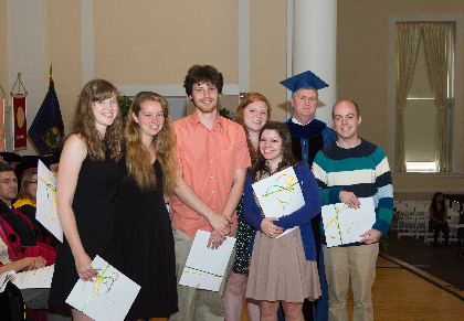 Sophie Thorup, Julia Maisto, Avery Cooper, Jennifer Powers, Isabella Sances, Dr. Tom Toner, and Ryan Kabilian at the College of Arts & Sciences award ceremony