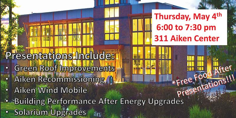 Aiken Center and flyer for greening presentations