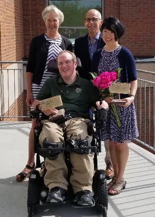 Professor Katie Shepherd and Dean Scott Thomas with award recipients and CESS employees Ben Wimett and Kunie Renaud
