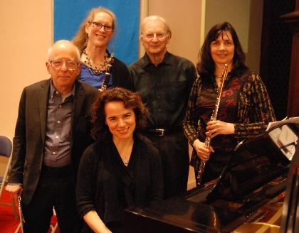 Vermont Virtuosi — from left, Allen Shawn, Karen Luttik, Mary Jane Austin, Thomas L. Read and Laurel Ann Maurer (photo: Jim Lowe)