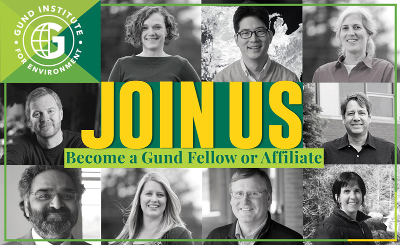 "An image of Gund Institute researchers with the words ""Join Us: Become a Gund Fellow or Affiliate"""