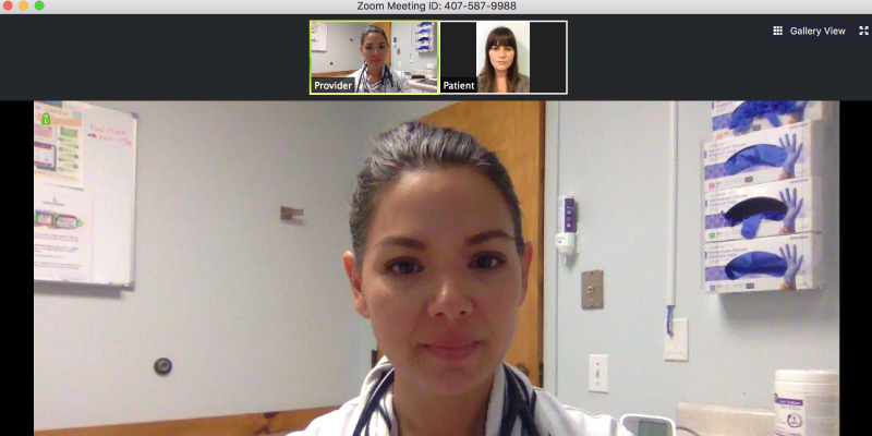 Nurse practitioner Jennifer Allaire, a clinical instructor in UVM's nursing program, meets remotely with a patient using internet video. (courtesy photo)