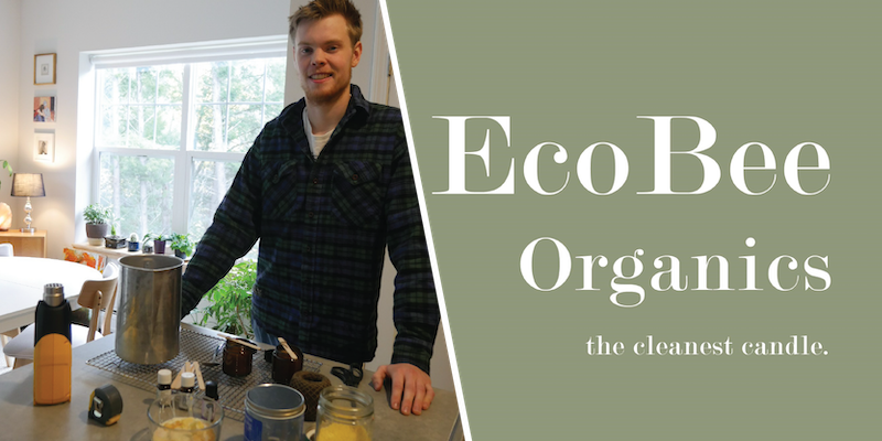 UVM Senior and EcoBee Organics Founder Bennett Novak making candles at home.