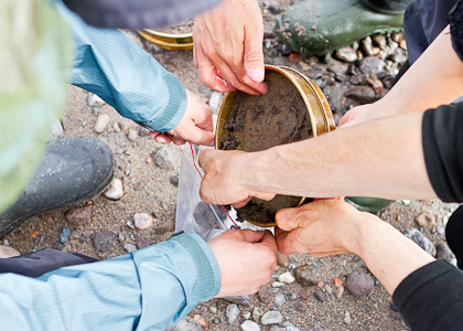 hands collecting sediment