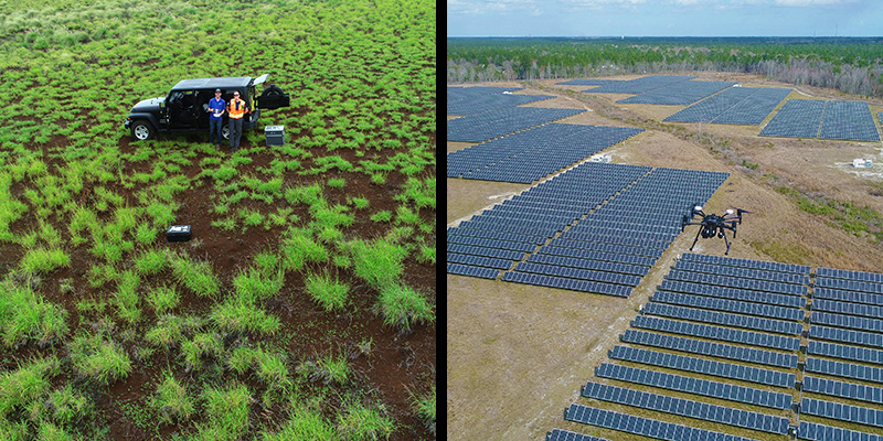 Drone view of operators in a field and a field of solar panels