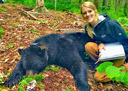 Caitlin Drasher and a collared black bear