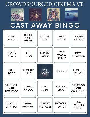 "The Bingo Board included in the Burlington, VT Media Factory's viewing guide for the crowd-sourced remake of ""Cast Away."""
