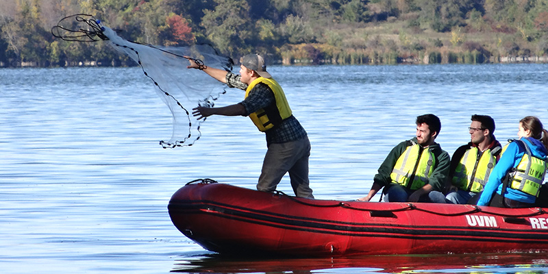 Student in boat tossing net on Shelburne Pond