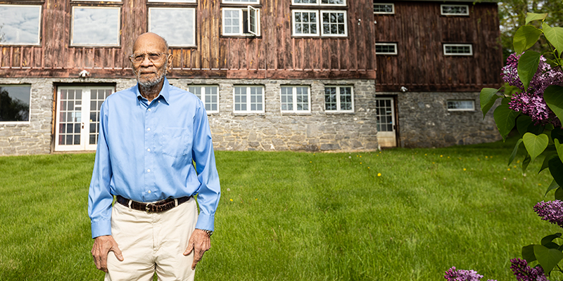 Dr. Jackson Clemmons on his farm in Charlotte, Vermont
