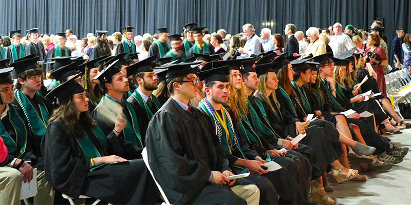 Graduates sitting at Commencement ceremony