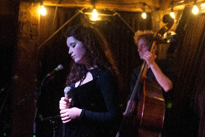 Stephanie in concert at Skinny Pancake (photo by Lara Bogdanovich)