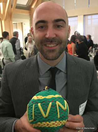 Jeff DeCelles with a rag ball recycled soccer ball.