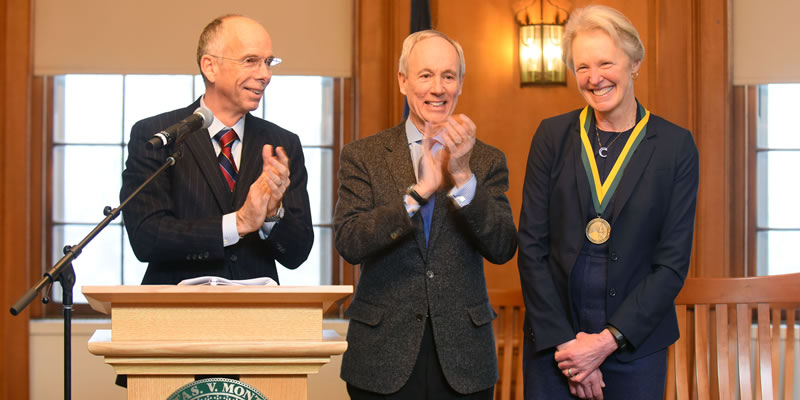 Photo of Scott Thomas, President Tom Sullivan, and Professor Katharine Shepherd, Ed.D.