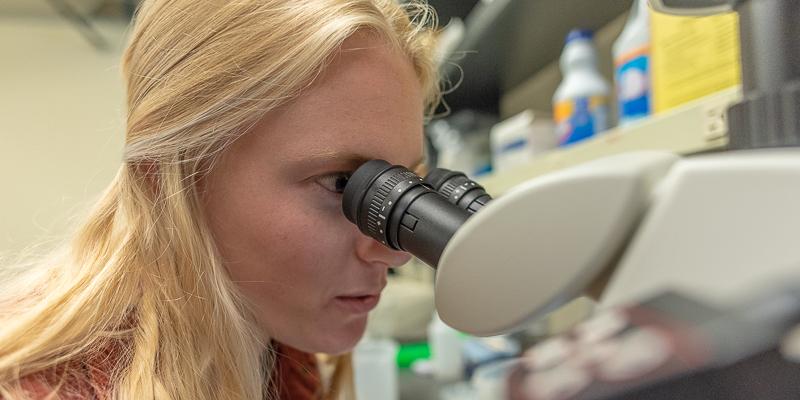 Emily Shore at microscope