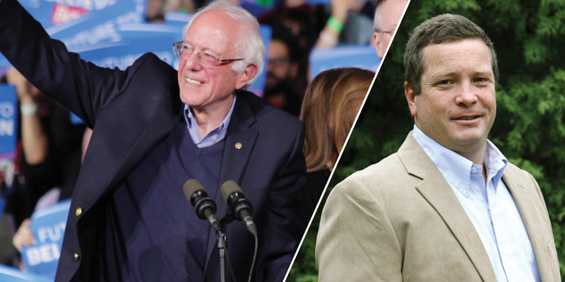 A composite image of Democratic presidential hopeful Bernie Sanders at a 2016 campaign event and UVM ecological economist Jon Erickson.