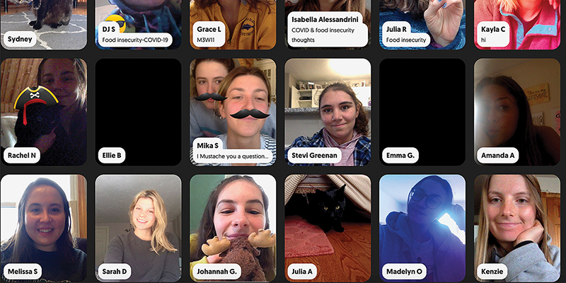 Zoom meeting screen grid of different student faces.
