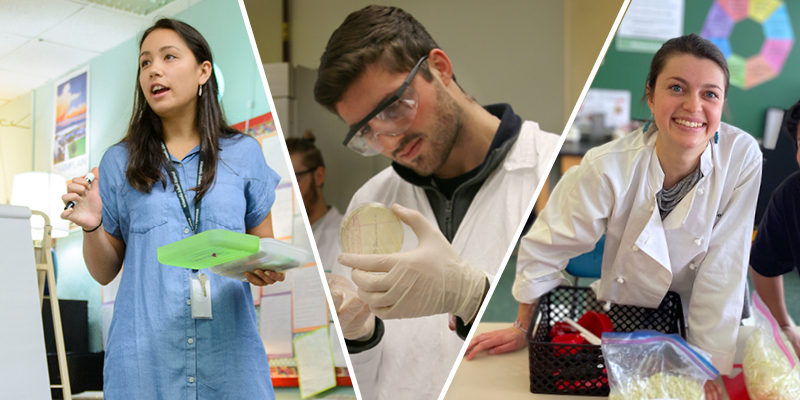 Collage of 3 students, a woman teaching in a classroom, a young man in a lab with a petrie dish, a woman in a white coat at a craft table.