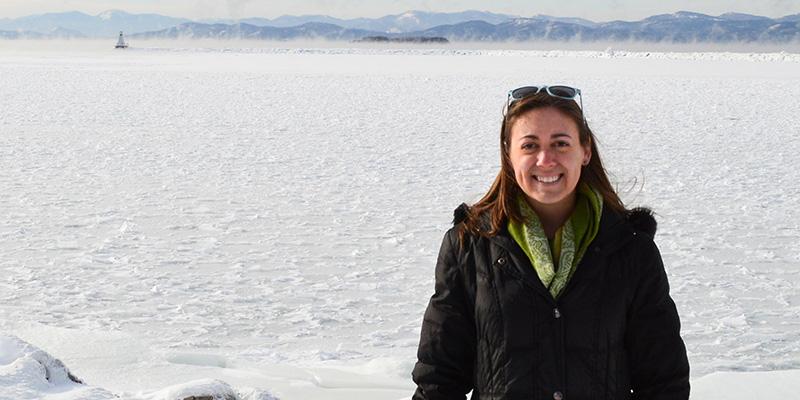 Hannah Lachance and Lake Champlain in winter