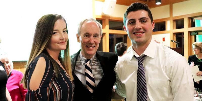 Amanda Nattress, President Tom Sullivan, James Whitley