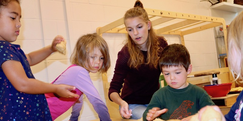 UVM Early Childhood Education senior Samantha Elgin working with students at the Campus Children's School.