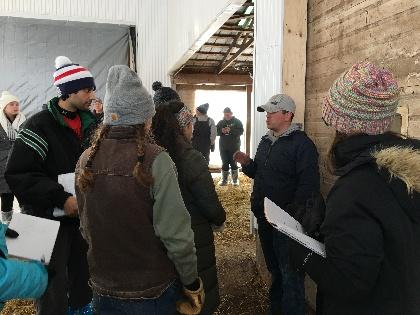 Students in barn.