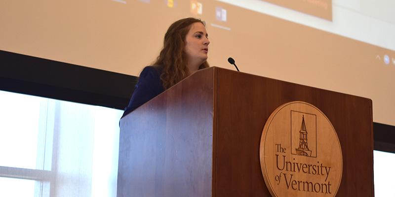 Student speaks from podium