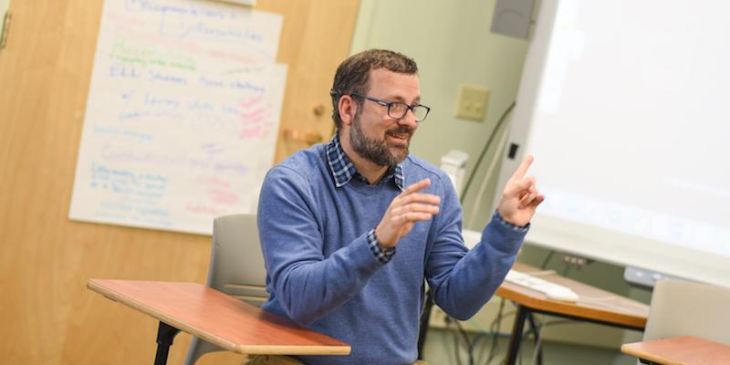 John Pirone, teaching American Sign Language (ASL) at UVM.