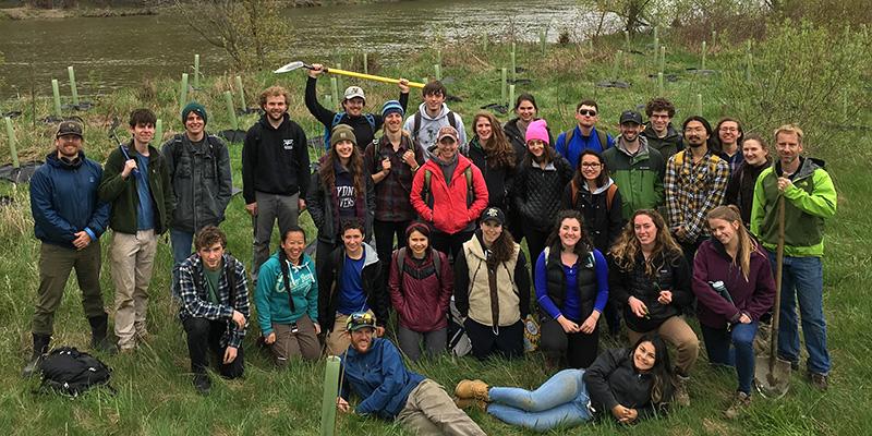 Restoration Ecology class along river bank