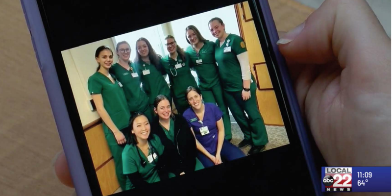 Nursing students from the class of 2020, as seen on Kelsey White's phone prior to the COVID-19 pandemic.